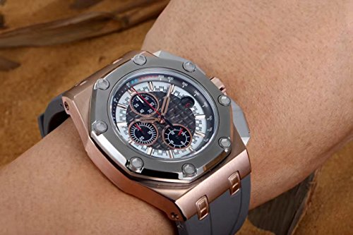 Luxury brand Top high best quality Japanese quartz chronograph watch Grey/Gold Grey Bezel white dial watch (Grey Dial Time)
