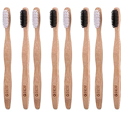 ECBIO Biodegradable Eco-Friendly Natural Bamboo Charcoal Toothbrush - Pack Of 8