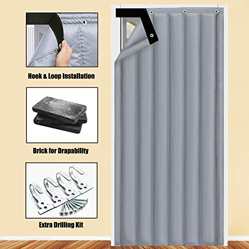 Liveinu Thermal Insulated Door Curtain Hook & Loop Windproof Waterproof Fleece Thermal Insulated Blackout Panel Curtian Anti Energy Loss Noise Reducing 42