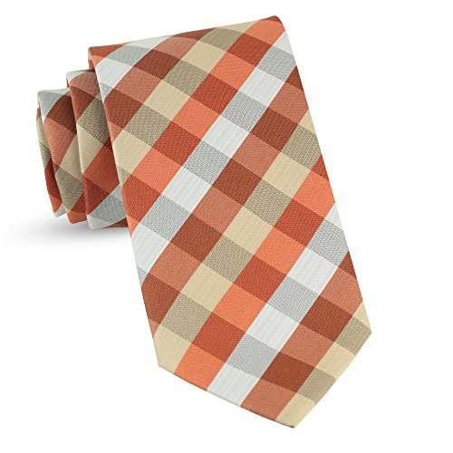 Handmade Plaid Ties For Men Skinny Woven Orange Slim Gingham Mens Ties: Thin Tie & Necktie, Stylish Neckties For Every Outfit