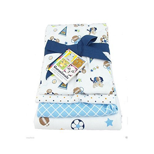 Garanimals Receiving Blanket, 4-Pack, Blue Whale Boy's