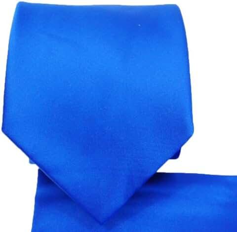 Necktie and Pocket Square Set, Solid Royal Blue