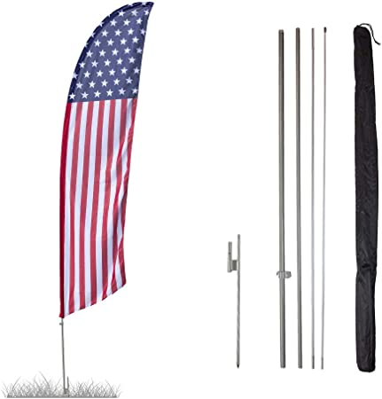 Grand Opening Liquor Groceries Open King Swooper Feather Flag Sign Kit with Complete Hybrid Pole Set Pack of 3