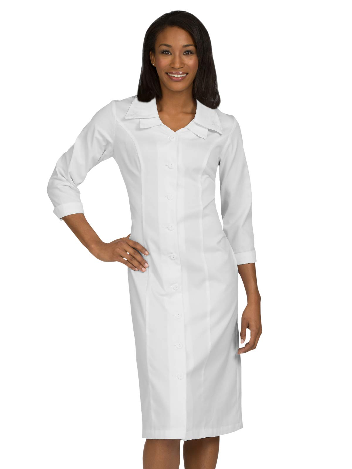 Med Couture Professional Women's Embroidered Collar Dress White 30W by Med Couture