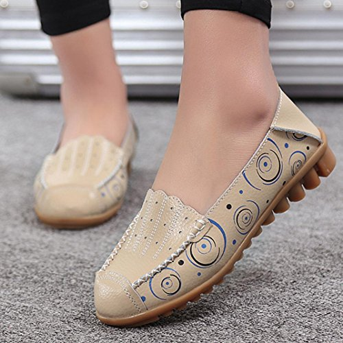 Peas Drive Breathable Shoes Casual Leather Womens Bottom Loafers Soft Flat Beige Ptint Boat Non slip 4q7xFnxv