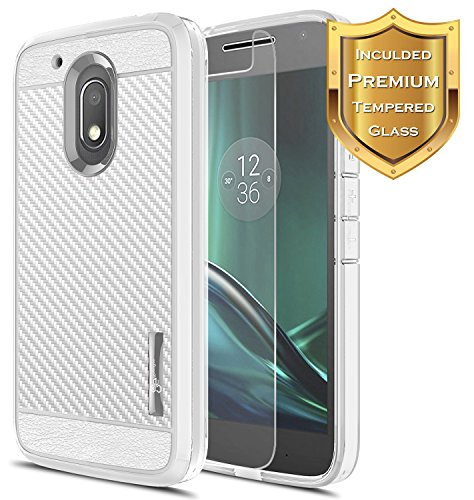Moto G4 Play Case with [Tempered Glass Screen Protector], NageBee [Frost Clear] [Carbon Fiber] Slim Soft TPU Rubber Bumper Case for Motorola Moto G Play (4th gen) (Gray)