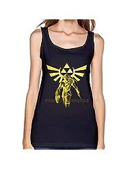 The Legend Of Zelda Triforce Game Women's Tank Top Tee Shirt,XXL,Black