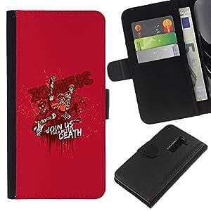 KLONGSHOP // Tirón de la caja Cartera de cuero con ranuras para tarjetas - El zombi divertido cartel de la propaganda - LG G2 D800 //
