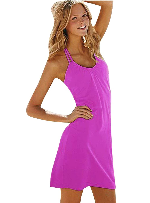 Moollyfox Frauen Kurzes Fest Farbe Ärmellos Strand Minikleid