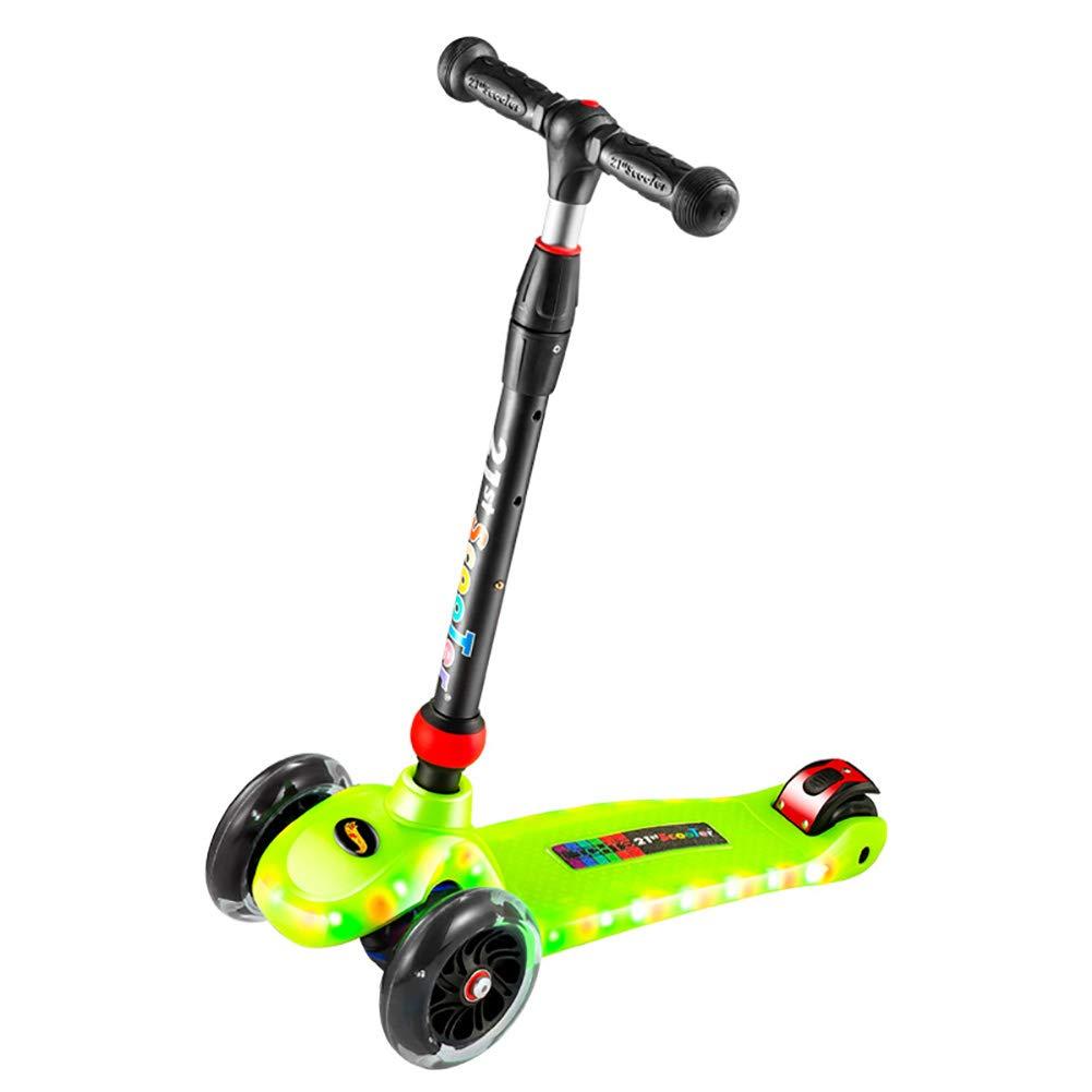 HH スクーター スクーター、LEDライトストリップ、防水キックスクーター充電モードキッズスクータースポーツアウトドア (色 : Orange) B07KZV7GZP Green Green