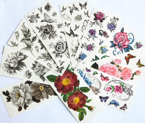 10pcs/package hot selling temporary tattoo stickers various designs including black peony/black flowers and butterflies/black roses/colorful flowers and butterflies/roses/peony/etc. -