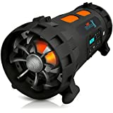Pyle Portable BoomBox Stereo Speaker w/ Wireless Bluetooth - Street Blaster X w/ Rechargeable Battery, AUX Input, FM Radio, MP3 System, Mic and Guitar Input - AZPBMSPG200