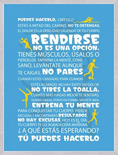 Amazon.com: 1art1 Posters: Motivational Poster Art Print - Workout, Tú Puedes Hacerlo, Blue (32 x 24 inches): Kitchen & Dining