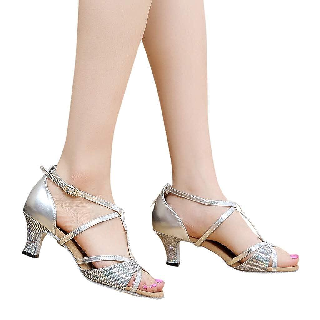 De Salsa Latina VECDY Zapatos De Baile Rumba Waltz Prom Ballroom Zapatos De Baile Cuadrados De Boca Pezcado Sandalias Brillante Leopardo Impresion Tacon Aguja 5 Cm De Fiesta 2019