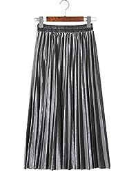 Tanpell Women's Retro High Waist Pleated A-line Midi Skirt