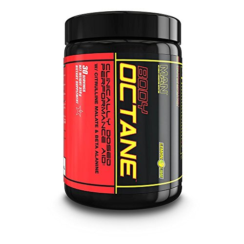 MAN Sports Body Octane Clinically Dosed Performance Aid Powder with Citrulline Malate & Beta Alanine, Lemon Lime, 30 Servings, 318 Grams
