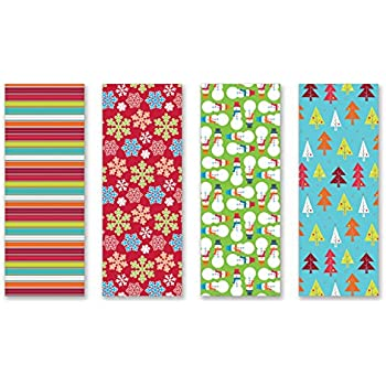 Amazon.com: Christmas Gift Wrapping Paper Multi Pack of 4 Rolls of ...