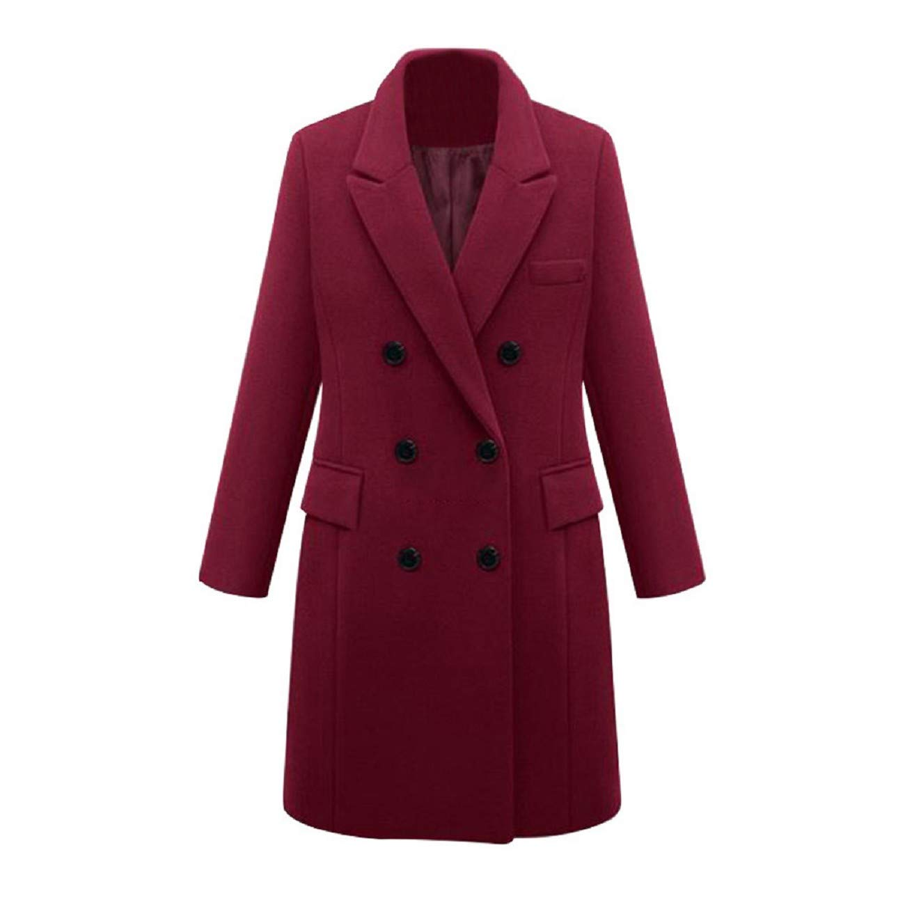 Adreamess Winter Womens Lapel Wool Coat Double Breasted Button Trench Jacket Thicken Long Parka Overcoat Outwear Wine Red by Adreamess