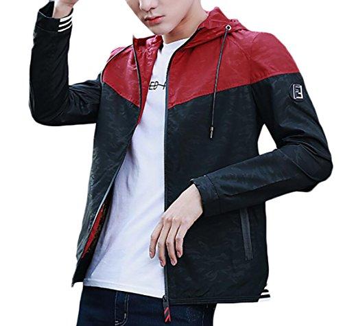 Front Hoodies Windbreaker Generic Zipper 2 Coats Slim Men's 1TnwZv