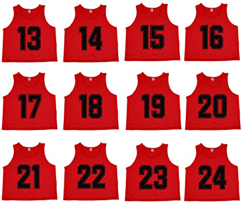 Oso Athletics Set of 12 Premium Polyester Mesh Numbered Jerseys, Scrimmage Vests, Pinnies with Carrying Bag for Children, Youth, and Adult Team Sports Soccer, Basketball (Red (#13-24), Adult)