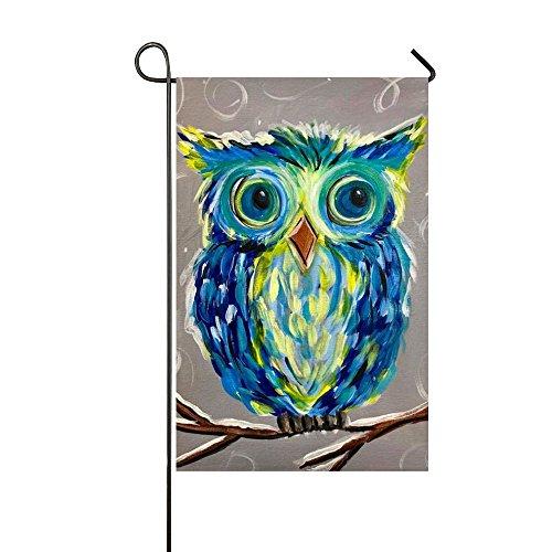 Rossne G sun Art Blue Colorful Owl Sing The Song Garden Flag House Flag Decoration Double Sided Flag 12.5