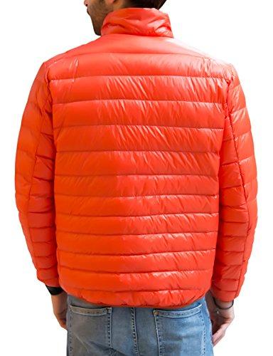 Men's Ultra Packable Zipper Orange Light Full Down Puffer Jacket Chouyatou Weight dWqIOpxdn