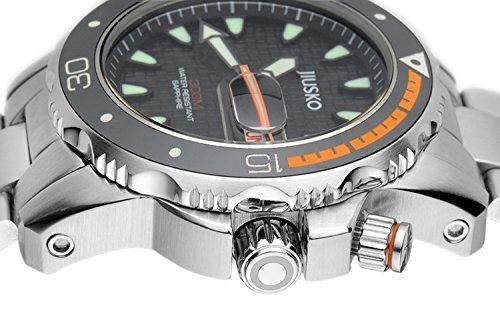 Amazon.com: Jiusko Mens Deep Sea Analog Quartz Dive Watch Set - 300m Diver - Sapphire - Stainless Steel Bracelet and Black Rubber Strap Set - Black Dial ...