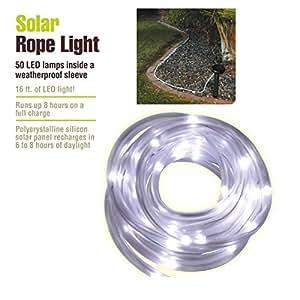Amazon outdoor path landscape garden solar panel rope light 50 lights aloadofball Gallery