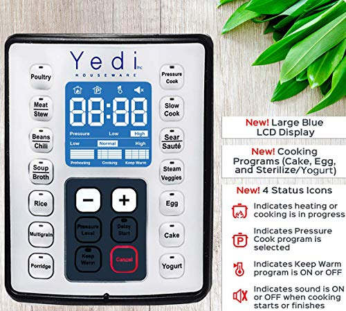 Total Package 9-in-1 Instant Multi-Use Programmable Pressure Cooker, Deluxe Accessory Kit & Recipes. Pressure Cook, Slow Cook, Sauté, Egg, Rice Cooker, Yogurt, Steamer, Hot Pot by Yedi Houseware (6Qt) by Yedi Houseware (Image #3)