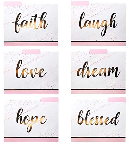 Decorative File Folders - 12 Fancy File Folders with Inspirational Words Emboss in Rose Gold Foil Letters - Colored File Folders - Cute File Folders - Letter Size File Folders - 9.5 x 11.5 Inches (Gold Foil Words)