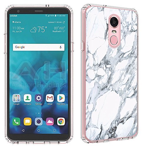 LG Stylo 4 Case [White Marble](Clear) PaletteShield Flexible Slim TPU skin phone cover (fit LG Stylo 4/Q Stylus)
