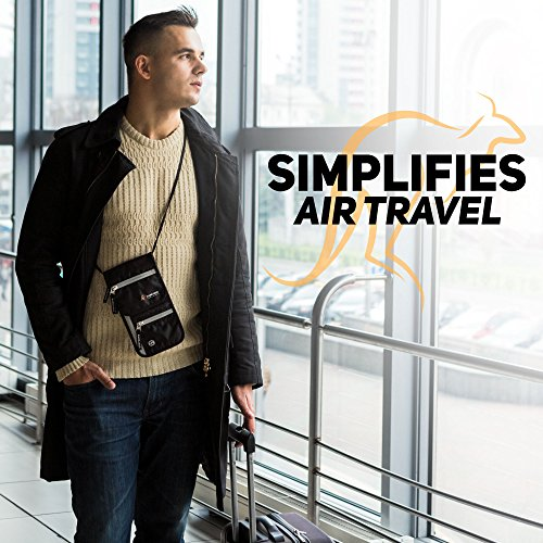 Travel Neck Wallet & Passport Holder with RFID Blocking by Kangaroo Organizer - Neck Stash Travel Pouch for Credit Cards, Documents, Smartphone, Cash - Men/Women