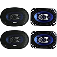 4) New Pyle PL463BL 4x6 480 Watts 3 Way Coaxial Car Speakers Stereo Blue