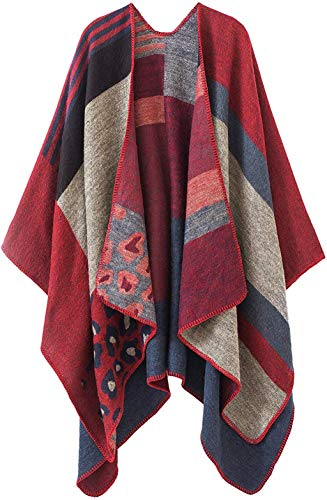 Women's Poncho Cape Shawl Cardigan Open Front Elegant Wrap Sweater (Series 13-red)