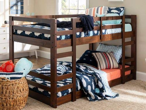 Walker Edison Furniture Company Low Wood Twin Bunk Bed - White