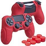 YoRHa Perfect Grip No Smell Silicone Cover Skin Case for Sony PS4/slim/Pro controller x 1(red) With Pro thumb grips x 8 For Sale