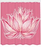 Pink and Cream Shower Curtains Ambesonne Floral Shower Curtain, Lotus Flower Meditation Yoga Plant Asian Zen Petal Ancient Icon Chakra Print, Cloth Fabric Bathroom Decor Set with Hooks, 70 Inches, Pink Cream