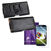 Fosmon® Samsung Galaxy S4 S IV i9500 Bundle Combo - Horizontal Pebbled PU Leather Pouch Case and 3 Pack Crystal Clear Screen Protector Shield - Fosmon Retail Packaging