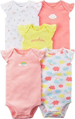 Carter's Baby Girls' 5 Pack Flutter Sleeve Rainbow Bodysuits 6 Months (Girl Pack Bodysuit 5)