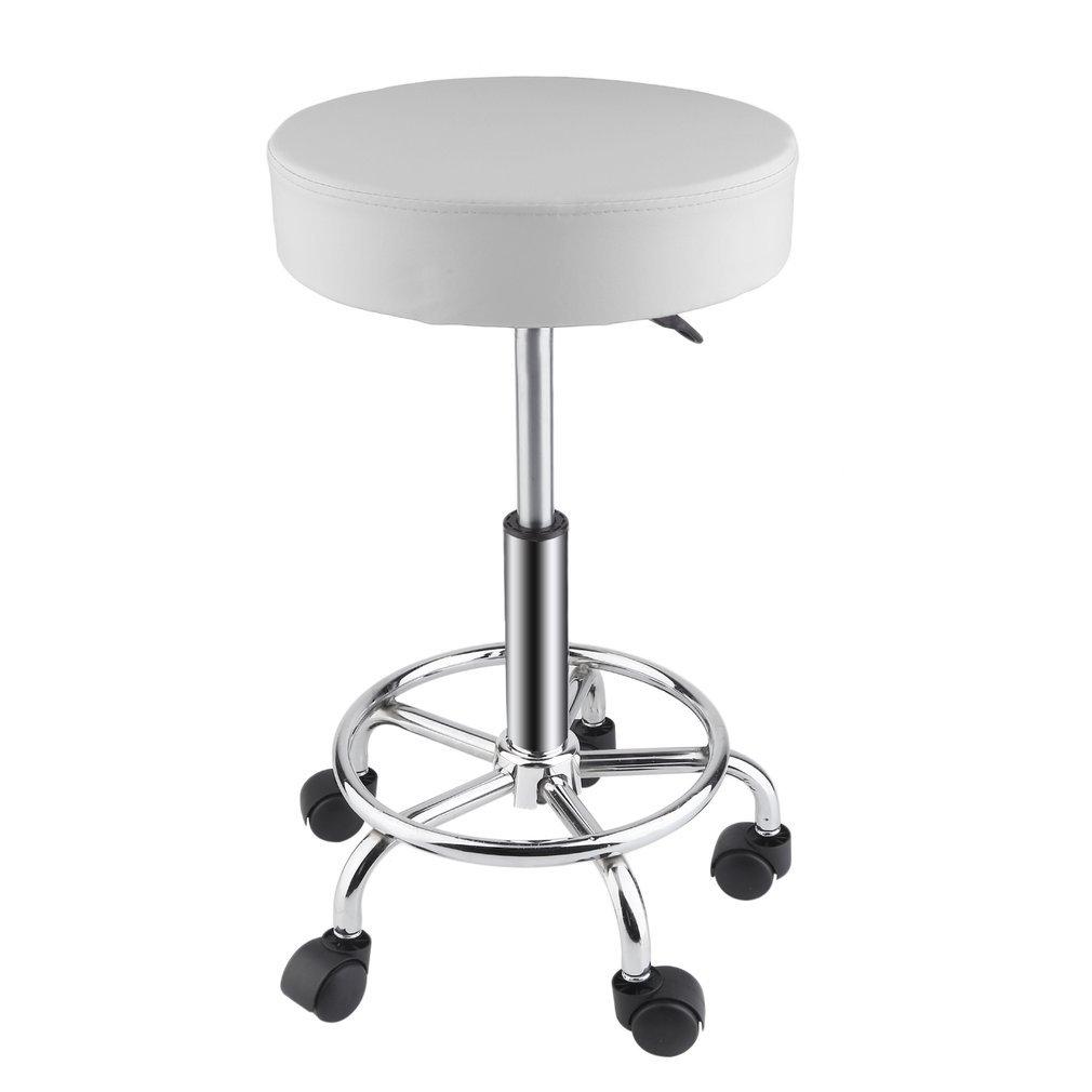Belovedkai Rolling Swivel Stool, Beauty Salon Massage Spa Tattoo Adjustable Stool with Wheels (white)