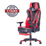 SimLife Swivel Leather Video Gaming Chair Red with Lumbar Massage Support Sturdy Durable Racing Computer Office Desk Chair with Footrest High-Back Large Size