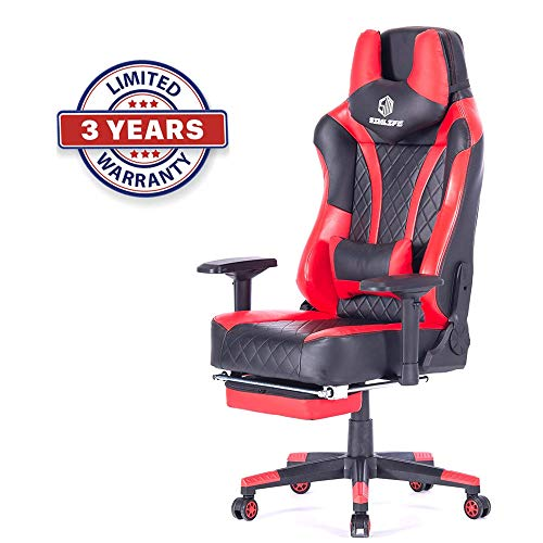 Cheap SimLife Swivel Leather Video Gaming Chair Red with Lumbar Massage Support Sturdy Durable Racing Computer Office Desk Chair with Footrest High-Back Large Size