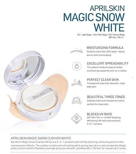 April Skin Magic Snow Cushion White NO.23 Natural Begie: Amazon.es: Belleza