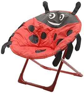 "Kaemingk 20"" Child Size Portable Folding Red and Black Ladybug Papasan Moon Chair for Kids"