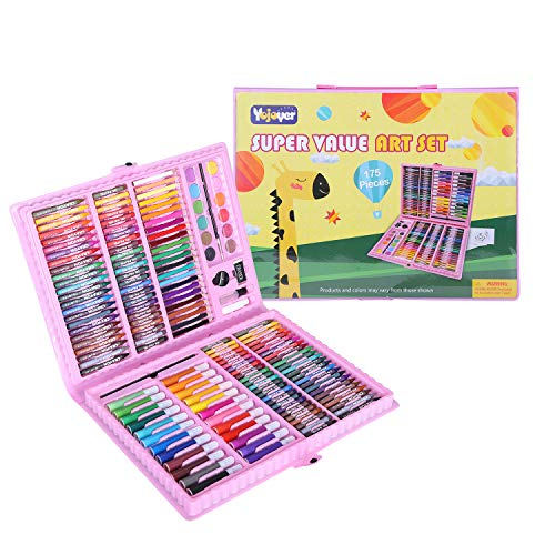 Kids Art Kit 175 Piece Art Supplies for Painting and Drawing with Colored Pencils Crayons for Children and Beginner Pink