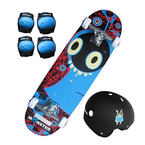 Charles Bentley 28' Kids Monster Skateboard Set Including Board, Knee &...