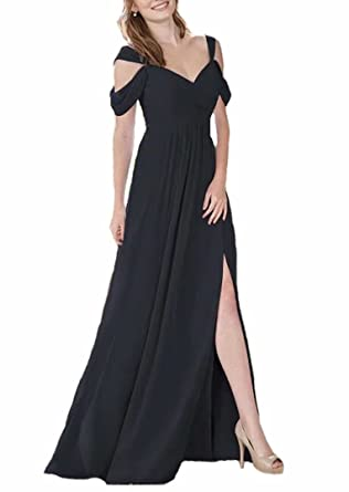 TTdamai Womens Off Shoulder Bridesmaid Dresses Long Chiffon HIgh Slit Wedding Party Prom Dresses US2 Size