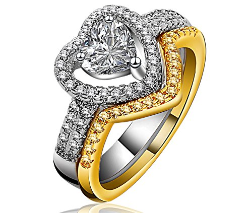 Lucky Dora Gold Platinum Two Tone Plated Heart Halo Promise Rings Set with Love Shape Cubic Zirconia, Size 10