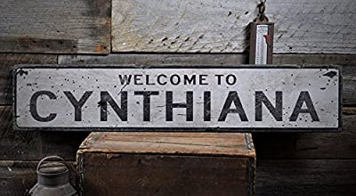 Welcome to CYNTHIANA - Custom CYNTHIANA, KENTUCKY US City, State Distressed Wooden Sign