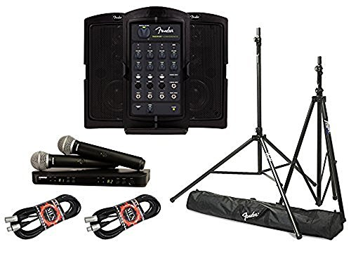Fender Passport Venue PA System Bundle with Shure BLX288/PG58 Dual Wireless Handheld Microphone System and Accessories - Portable PA System (5 - Mic Fender Wireless